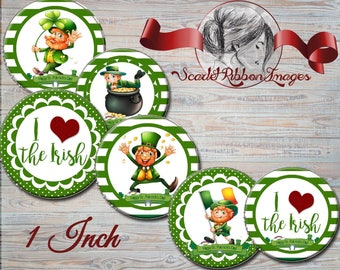 Irish St Patrick's Day Leprechaun images - 1 in circles - 600dpi, cupcake toppers, Gift Tags, BottleCaps Luck of the Irish