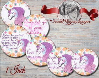 UNICORN DIGITAL IMAGE - digital paper - bottle cap image 1 inch circle - digital collage sheet - buttons,tags, scrapbooking, cupcake toppers