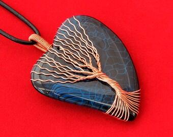 Heart Agate - Heart Agate Pendant - Blue Heart Agate - Heart Magnet - Tree Agate - Tree Agate Jewelry - Tree Agate Pendant - Tree Agate Neck