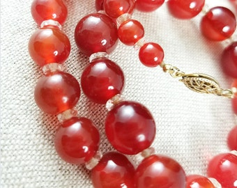 Persimmon Color Glass Bead Necklace Crystal Rondelles Fish Hook Closure