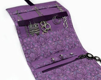 Jewelry Travel Organizer, Jewelry Roll, Jewelry Case in Shades of Purple in an Owl Damask Print, Bridesmaid Gifts