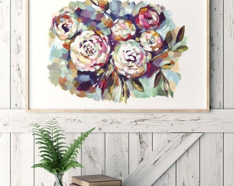 Amazing colorful Art Print with flowers for decor interior. Spring Poster WALL ART DECOR.