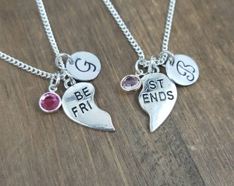 Best Friends Necklaces - Personalized, Hand Stamped Best Friend Necklaces - TWO Little Girl Name Necklaces - BFF