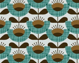 Brown and Light Teal Floral Jersey Knit Fabric, Extra Wide - Half Metre
