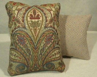 Tan Paisley Pillow, Set of 2 Pillows, Tan Tapestry Pillow, Tan Red and Blue Tapestry Decorative Pillow,