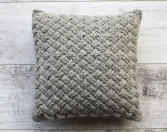 Knitted Cushion, 33 cm Square, Decorative Pillow, Pure Wool with Grey-Striped Cotton Back, Mid Grey,100%  Hand Knitted with Crochet edge.