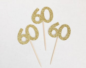 60th Glitter Cupcake Toppers - Anniversary - 60 - 60th Birthday - Dessert Table - Decorations - Donut Toppers - Sweets - Glam - Golden