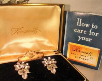 1950s, KREMENTZ Earrings, Rolled Gold Overlay Earrings, Screw Back Earrings, Rhinestone Earrings, White Rolled Gold, Vintage Earrings, 14K
