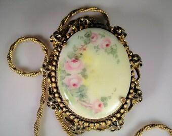Convertible Brooch, Brooch & Necklace, Porcelain Floral Brooch, Hand Painted Porcelain, Vintage Brooch, Vintage Necklace, Porcelain Cameo