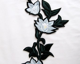 Iron on Patch,Grey Applique , Heat Transfer  Patch,Flower Patch Applique ,Embroidered Patch  ,Branch Flower Appilque