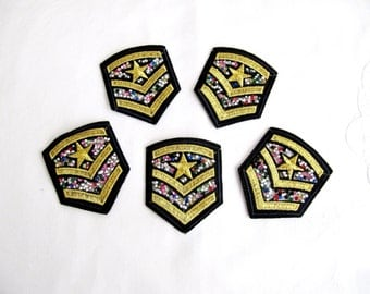 2 pcs.Gold emblem,Gold Lurex  Braid military stripe With Rhinestone Aviation tag grade custom Iron On Embroidered Patches Applique