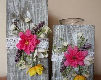 Wood Candle Holders with Flowers Spring Summer Decor Rustic Wood Candle Holders Distressed Candle Holders  Repurposed Wood Centerpiece