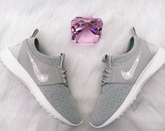 Blinged Nike Juvenate Shoes Grey Customized With Swarovski Crystal Rhinestones New in Box Bling