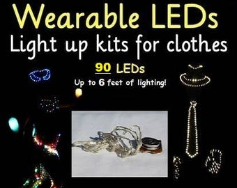 Make an LED Costume in minutes! Exclusive DIY LED kit for clothes, up to 6 feet of lights, you can attach these LEDs to anything! Light up!