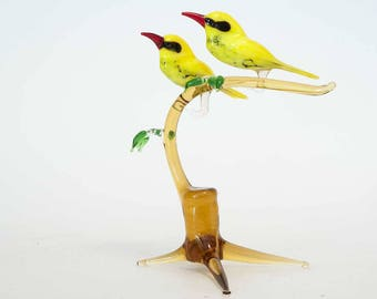 Two Orioles on the Twig Hand-Blown Art  Composition