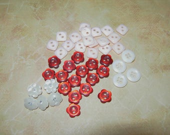 Tiny Buttons, 4 Sets, 2 And 4 Hole And Shank, Red, Pink And White