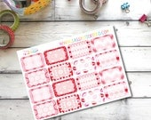 Valentine's Day Red and Pink Write-On Half Box Stickers for Erin Condren Life Planner