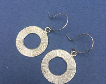 Sterling Silver earrings, sterling silver handmade earrings, round textured circles,  60's style, sterling silver fish hook wire, hammered