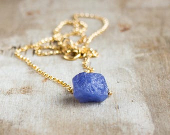 Raw Tanzanite Necklace, December Birthstone, Raw Crystal Jewellery, Rough Tanzanite Necklace, Raw Gemstone Jewelry,  Periwinkle Blue Crystal