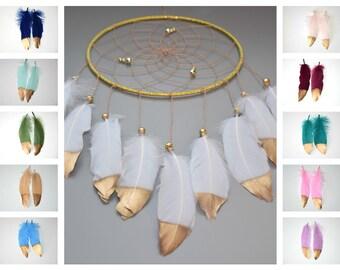 White and Gold  Dream Catcher, Wall Hanging Dreamcatcher, Wedding  Gift Idea, White Nursery Decor, Baby Shower Gift, Baby Nursery