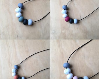 """Polymer clay bead necklace. Black, grey, marble sage / rust/ red wine / dusty pink. """"The Belinda"""""""