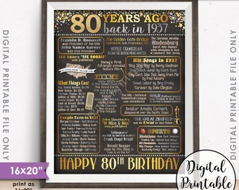 "80th Birthday Gift 1937 Chalkboard Style 16x20"" Instant Download Digital Printable Poster Sign, 80th B-day, 80 Years Ago Born in 1937 USA"