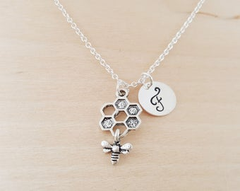 Bee and Honeycomb Charm - Personalized Custom Initial Silver Necklace - Simple Jewelry - Gift for Her