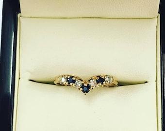 9ct Yellow Gold Sapphire and CZ Wishbone Ring Size P