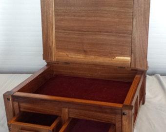 Walnut and Ebony Gentlemans Valet, Keepsake Box, Jewellery Box,Greene and Greene, jewelry box, Gifts for Him