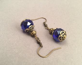 "Blue Pearl Earrings ""Royal"" in bronze"