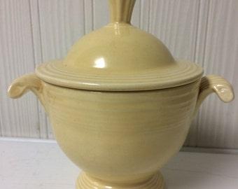 Vintage Fiestaware Old Ivory Lidded Sugar Bowl Fiesta