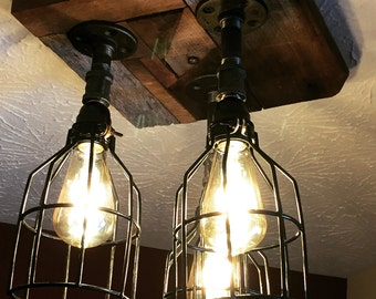 3 cage industrial barn wood ceiling chandelier light