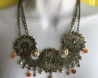 Gold and bronze steampunk statement necklace // found object necklace