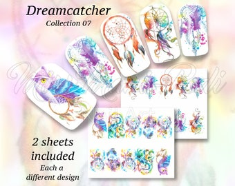 Dreamcatchers Nail Art, Boho Summer Nail Wraps, Water Nail Decals, Dreamcatcher Nails, Festival Nails Stickers, Feathers Water Decals BN303