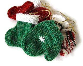 Knit Christmas Tree Ornaments - set of six, Mitt and Stocking Decorations, Knit Holiday Ornament Set, Stocking Stuffers, Knit Items