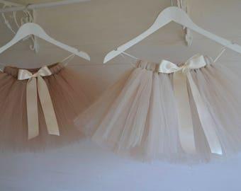 Girls tutu, latte, champagne, taupe, ivory tutu, flower girl tutu skirt, baby tutu, fluffy tutu dress, tulle tutu skirt, flower girl dress