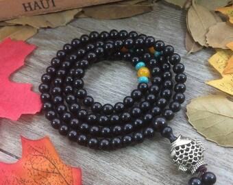108pc 6MM Black Macassar Ebony Wood Beads Meditation Buddhist Japa Mala DIY Bracelet