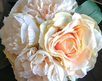 Peach Pink Peony Bridal Bqouquet, Apricot Peony, Peony Bouquet in Variegated Pink, Peony Bouqut in White, Peony Bouquet in cream colour