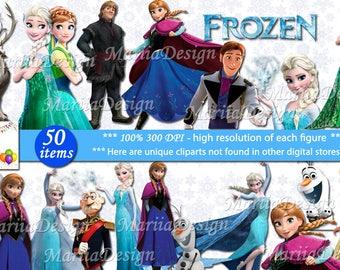 50 Frozen Clipart - 50 PNG - 300 Dpi, Frozen Clip art, Frozen png, Frozen Instant download printable - ONLY FILES