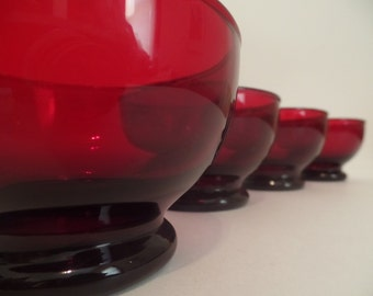 Four Anchor Hocking Baltic Royal Ruby Dessert Cups
