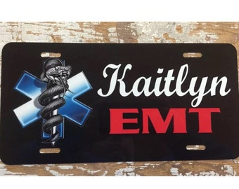 Paramedic license plate EMT car tag personalized