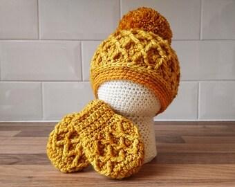 0-3 Months Hat and Mittens Set! Mustard yellow, pom pom, baby, hat and mittens, baby gift set, baby shower, newborn, crochet baby hat!