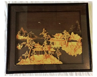 Very Large Vintage Chinese Cork Carving Framed in Shadow Box