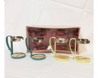 Mid-Century Green and Turquoise Cocktail Cozies Vintage Barware