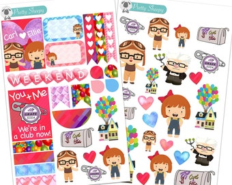 Carl and Ellie Up Set - Disney Planner Stickers