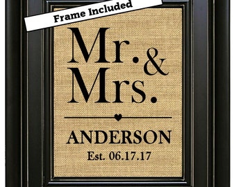 FRAMED Mr and Mrs Sign Mr and Mrs Print Wedding Sign Rustic Wedding decor Gift for couple Mr and Mrs Wedding sign Personalized Bridal Shower