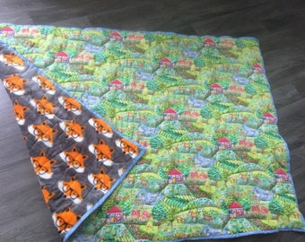 Farmyard panel quilted onto plush fleece with foxes