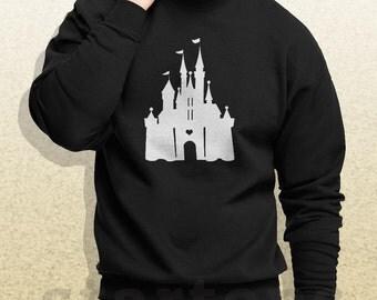Sudadera de Castillo de Disney amo disney sudadera sudor camisas suéter cuello redondo negro sudaderas kh17