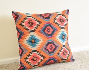 "Orange/Purple Tribal Aztec Kilim Geometric/Bohemian Cotton Linen Cushion/Pillow Cover 18 x 18"""