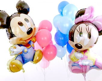 Baby Mickey U0026 Minnie Balloon Bouquet | Mickey Mouse Shower | Mickey Mouse  Baby Shower |